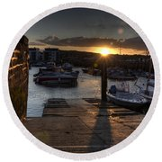 Sunset At West Bay Harbour Round Beach Towel