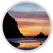 Sunset At Whalehead Beach Round Beach Towel