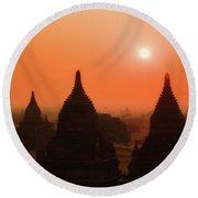 Sunset Bagan Round Beach Towel