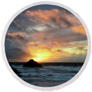 Sunset Bandon By The Sea Round Beach Towel