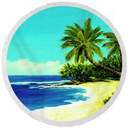 Sunset Beach Art North Shore Of Oahu In Summer #100 Round Beach Towel