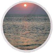 Sunset Beach Cape May New Jersey Round Beach Towel
