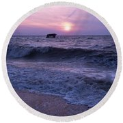 Sunset Beach Nj And Ship Round Beach Towel