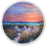 Sunset Beach Painting With Walking Path And Sand Dunesand Blue Waves Round Beach Towel