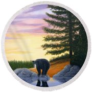 Sunset Bear Round Beach Towel by Tracey Goodwin