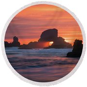 Sunset Behind Arch At Oregon Coast Usa Round Beach Towel