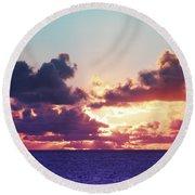 Sunset Behind Clouds Round Beach Towel