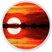 Sunset Behind The Trees At Kempenfelt Bay Two  Round Beach Towel