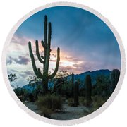 Sunset Beyond The Cacti Round Beach Towel