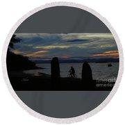 Sunset Bicycle At Earth Clock Burlington Vermont Panorama Round Beach Towel