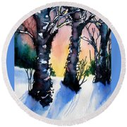 Sunset Birches On The Rise Round Beach Towel