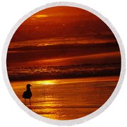 Sunset Bird 2 Round Beach Towel