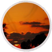 Sunset Birds Round Beach Towel