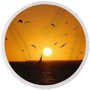 Sunset Birds Key West Round Beach Towel