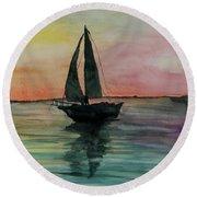 Sunset Boat 1 Round Beach Towel