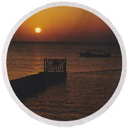 Sunset Boat Round Beach Towel