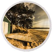 Sunset Boat Shed Round Beach Towel