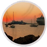 Sunset, Boats And Sea Round Beach Towel