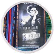 Sunset Boulevard On Broadway Round Beach Towel