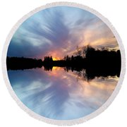 Sunset Brushstrokes Round Beach Towel
