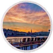 Sunset Budapest Round Beach Towel
