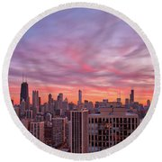Sunset Burn Round Beach Towel
