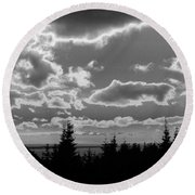 Sunset Bw Round Beach Towel