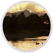 Sunset By The Lake Round Beach Towel