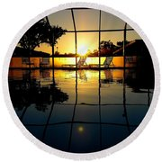 Sunset By The Pool Round Beach Towel