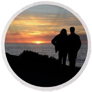 Sunset California Coast Round Beach Towel