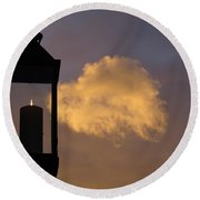 Sunset Candle Round Beach Towel