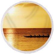 Sunset Canoe Round Beach Towel