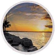 Sunset Caribe Round Beach Towel