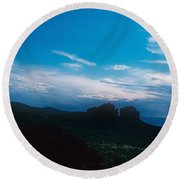 Sunset Cathedral Rock Sedona Arizona Round Beach Towel