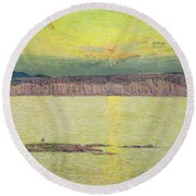 Sunset Round Beach Towel by Childe Hassam