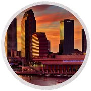 Sunset City Downtown By The River Round Beach Towel