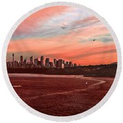 Sunset City Round Beach Towel