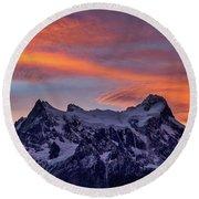 Sunset Clouds At Cerro Paine Grande #3 - Chile Round Beach Towel