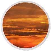 Sunset Clouds On Fire Round Beach Towel