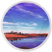 Sunset Clouds Over Wyoming Round Beach Towel