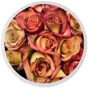 Sunset Colored Roses Round Beach Towel