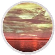 Sunset Colors On The Bay Round Beach Towel