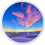 Sunset Colors Over White Sands National Round Beach Towel