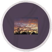Sunset Colors To The West Round Beach Towel