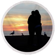 Sunset Couple Round Beach Towel