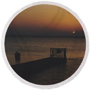 Sunset Couple Round Beach Towel