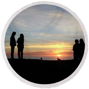 Sunset Couples Round Beach Towel