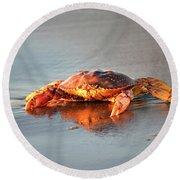 Sunset Crab Round Beach Towel