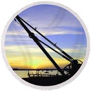 Sunset Crane Round Beach Towel