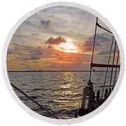 Sunset Cruise Round Beach Towel